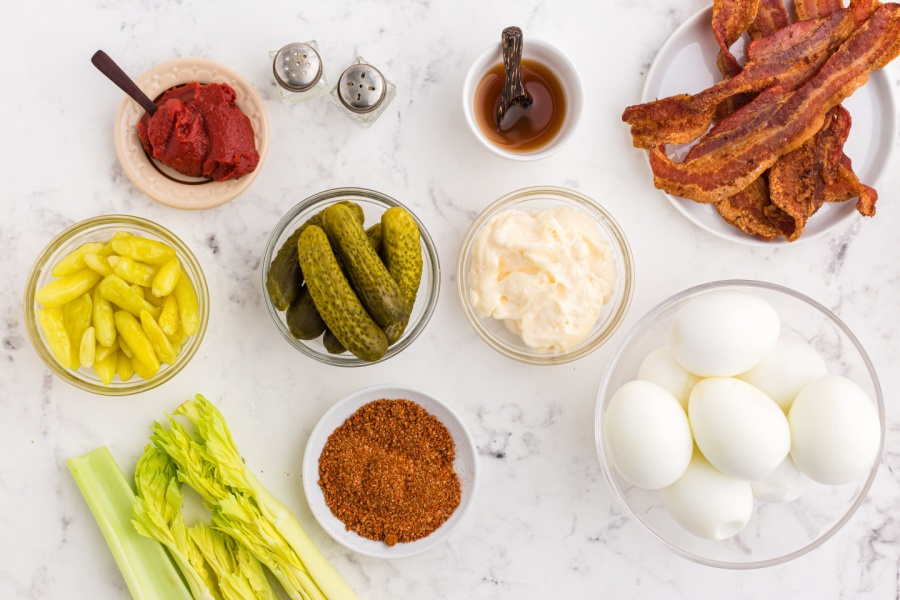 ingredients for Bloody Mary Deviled Eggs