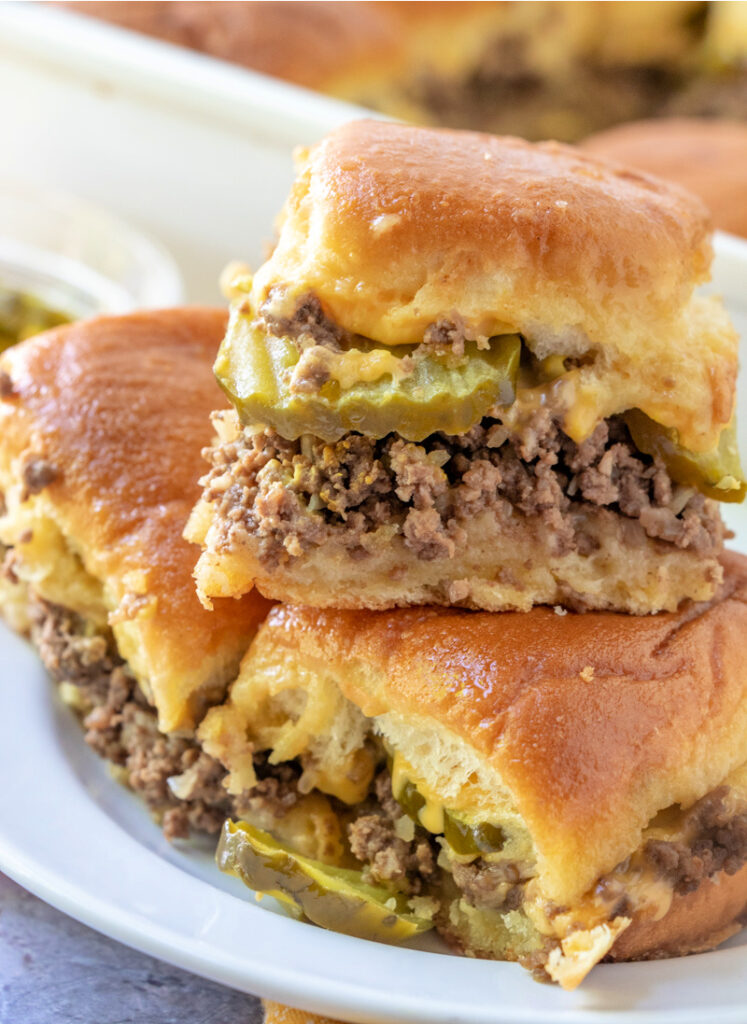 Maid Rite Sliders stacked on a plate