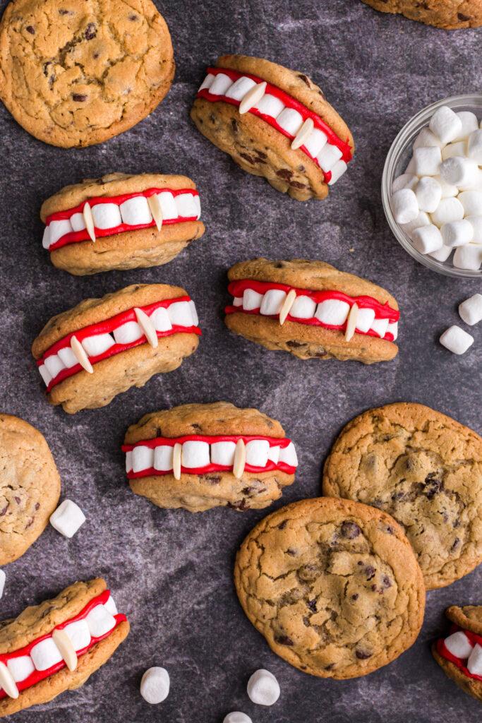 Vampire Teeth Cookies laid out