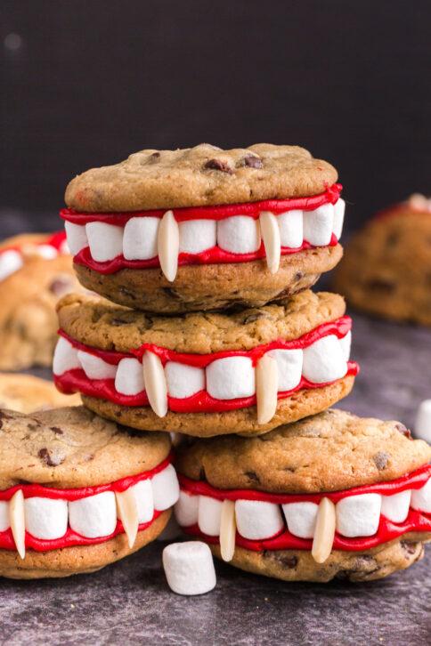 Vampire Teeth Cookies stacked up