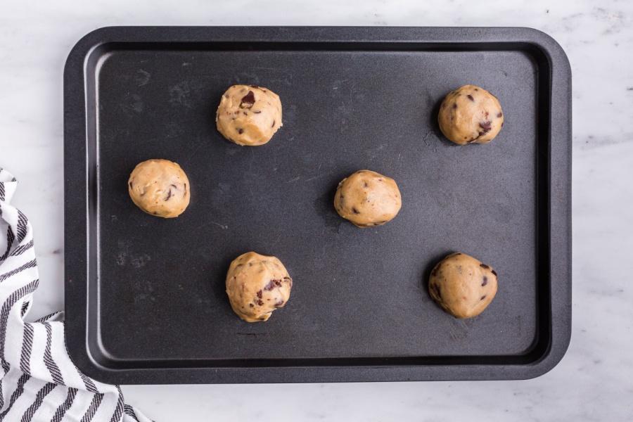 cookie dough balls on a pan