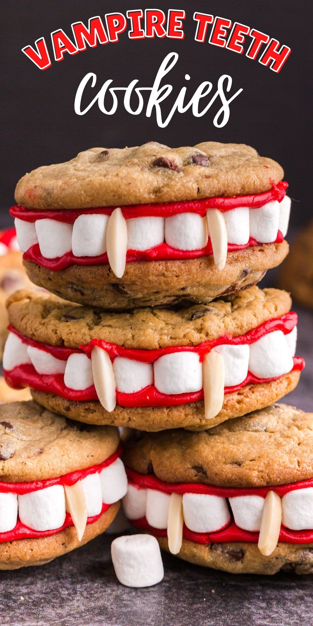These Vampire Teeth Cookies are a spooky treat you can really (ahem) sink your teeth into. Super cute and easy to make! via @familyfresh